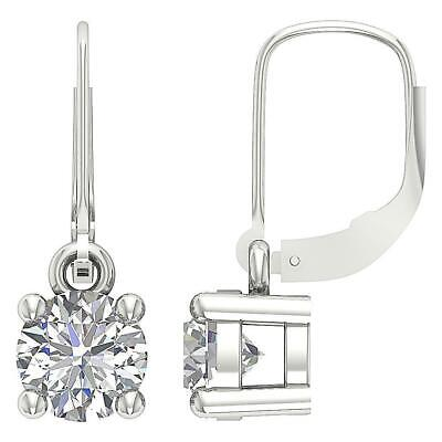 Leverback Solitaire Stud Earrings Round Cut Diamond SI1 G 0.90 Ct 14K White Gold