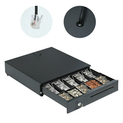 Heavy Duty Compact Black Manual Push-Open Cash Drawer with 5Bill/5Coin Till