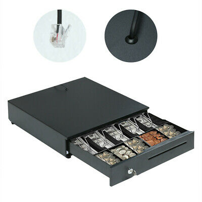 Heavy Duty Compact Black Manual Push-open Cash Drawer With 5bill5coin Till