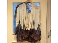 BNWT Ladies Cream & Purple Blouse One Size