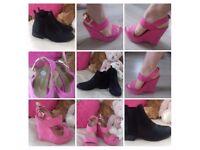 Size 5 Black Boots ,Pink Sandals