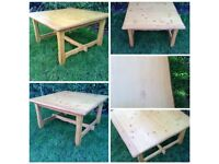"Square pine coffee table 32""x 32""x 18"" high"