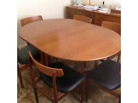 Retro Teak Dining Table and 6 Chairs