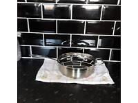 Heavy duty stainless steel frying pan