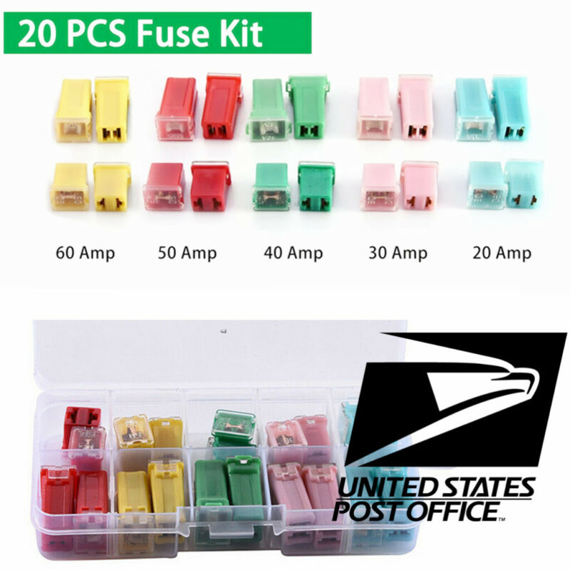 Auto Fuse Assortments Square Fuse Car Fuse with Plastic Box 20A/30A/40A/50A/60 #