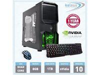 Ultra Fast Gaming PC QUAD CORE Desktop Computer 1TB HDD 8GB RAM Windows 10 WiFi