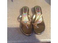 Gold and silver diamanté party sandals