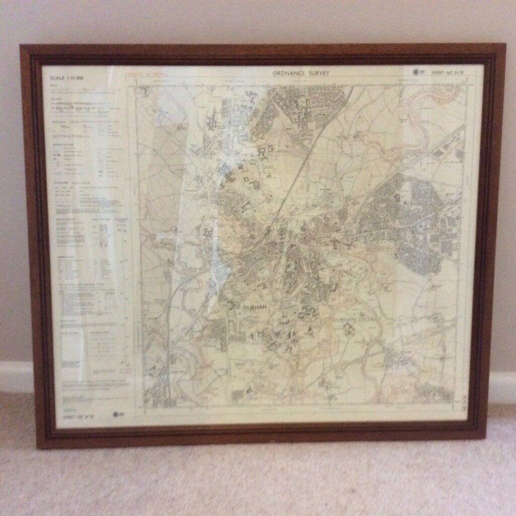 Framed Os Map Of Durham City In Durham County Durham Gumtree