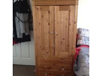 Handy solid pine wardrobe with 3 drawers