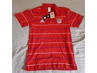 adidas Mens Gents Football Bayern Munich Official Polo Shirt Red New (BNWT)