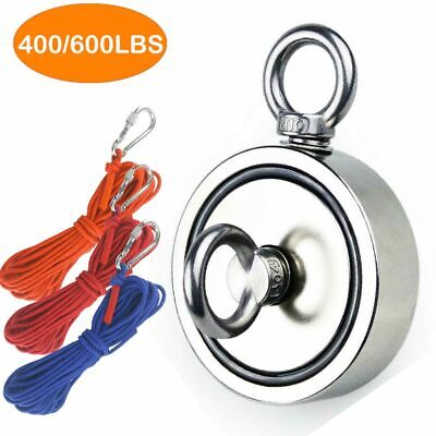 Double-sided Salvage Neodymium Fishing Magnet Hook 400-600lb Pulling Force Rope