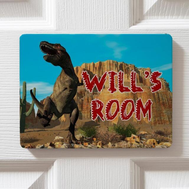 Personalised T Rex Dinosaur Children\u0027s Bedroom Door Boys Name Sign Plaque DP35 & Personalised T Rex Dinosaur Children\u0027s Bedroom Door Boys Name Sign ...