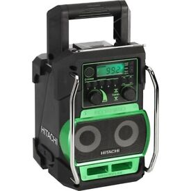 Twin Speaker Hitachi Site Radio works with Cordless Drill Battery. With Mains Charger
