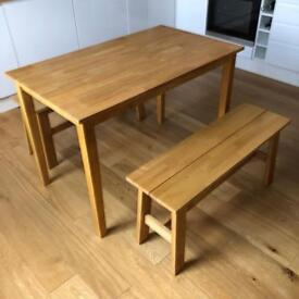 Oak Dining Table with Benches