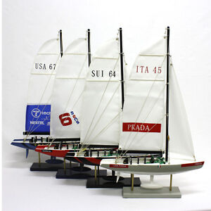 1 x 35CM Wooden Sailboat Yacht Models ITA SUI SENS USA YT246-35