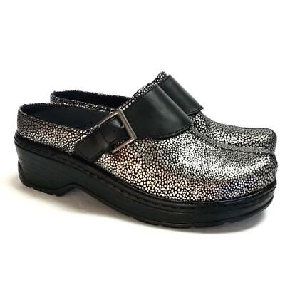 NEW Klogs Austin Women 11 M Open Back Clogs Silver Stingray Embossed Leather
