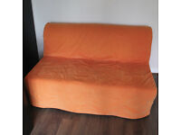 IKEA two seat sofa bed for sale Lycksele Lovas with orange replaceable cover FREE LOCAL DELIVERY