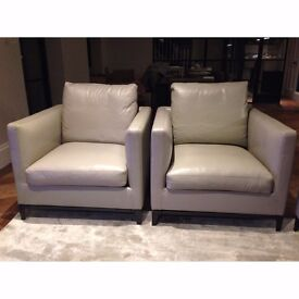 Camerich Pair of Crescent Beige Leather Armchairs