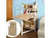 Compact Folding Computer Desk - 4 Storage Shelves With Folding Study Bookcase Table