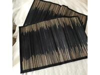 Bamboo Placemats Black Blue Navy Natural Oriental