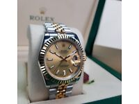 New TwoTone Gold Face DateJust with Markers Comes Rolex Bosed with Paperwork