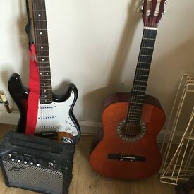 2 guitars and an amp (electric and acoustic)