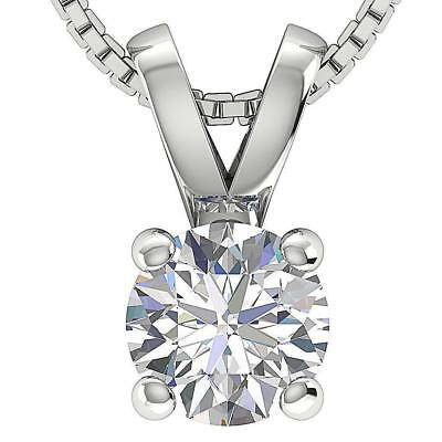 I1 H Round Diamond Solitaire Pendant Necklace 0.70Ct Four Prong 14Kt White Gold