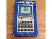 Vintage 1981 CASIO MG-777 3 Game/Clock Calculator - Made in Japan - BOXED!