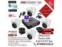 Hikvision HiWatch CCTV Kit, 4CH Hikvision Turbo-HD Cube DVR 1TB HDD, 4x Hikvison 1080P Dome Cameras