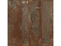 36 Metallic Copper Porcelain Floor Tiles: 12 boxes of six tiles each, unopened