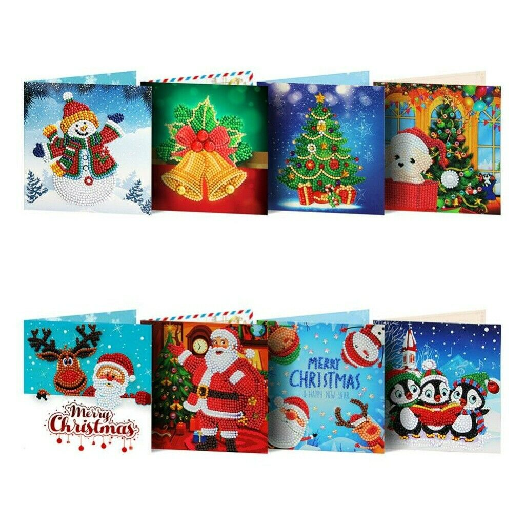 1//8pcs Christmas Greeting Cards DIY 5D Diamond Painting Set Xmas New Year Gift