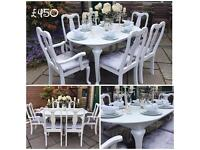 Stunning Dining Table & Chairs ~ Dining Set ~ White ~ Grey Silver Crushed Velvet ~ Shabby Chic