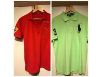 2 x Ralph Lauren Polo + Ferrari T-Shirt Custom Fit Size Large Casual T Shirt in Light Green