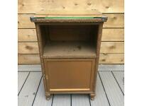 Vintage Woven Lloyd Loom Style Bedside Cupboard with Glass Top - project / upcycle