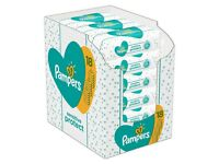 Box of 18 pks of Pampers Sensitive Baby Wipes, brand new in box