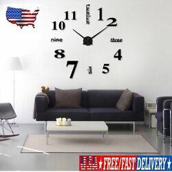 Modern 3D DIY Large Number Mirror Wall Sticker Big Watch Art Clock Home Decor