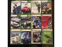 Xbox360 games console with 3 controllers various games including sonic pgr4
