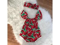 Brand new baby girl watermelon romper outfit