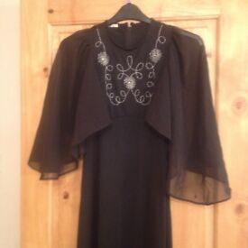 STUNNING 1960'S UNIQUE BLACK DRESS - VINTAGE CLOTHING