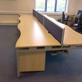 1600 Double Wave 6 Person Bench Desk Maple