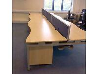 1600 Double Wave 6 Person Bench Desk Maple