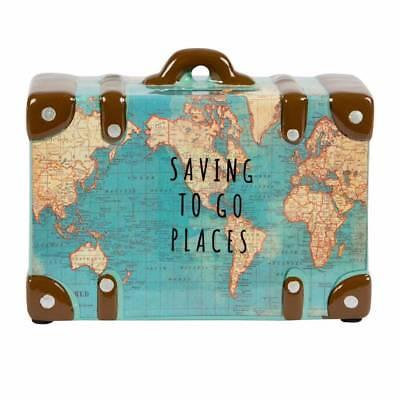Hucha Maleta Viajes Caja Weltreise Vacaciones de Dinero Mapa Del Mundo