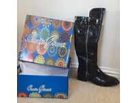 NEW in box black patent boots. Size 6. £15