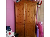 Solid wooden wardrobe and bedside unit