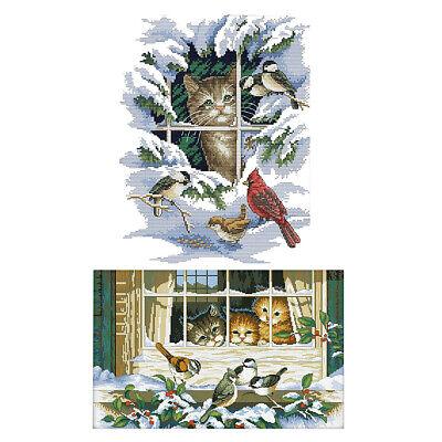 2 Set Cross Stitch Kits Cat & Bird Patterns for Beginners Adults DIY Crafts - Adult Craft Kits