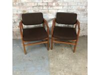 2X Mid Century Danish Teak Carver Chairs with Brown Fabric Cushions