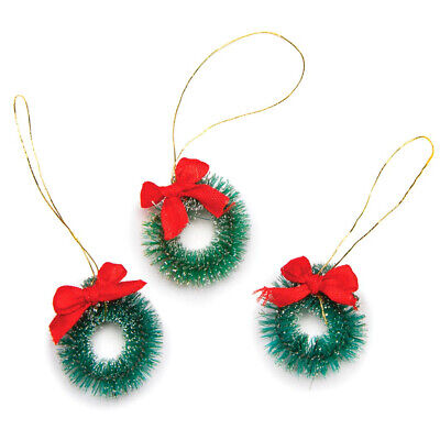 Frosted Sisal 1 inch Holiday Mini Wreath Ornaments: Green w/ Red Ribbon Bow-3 -