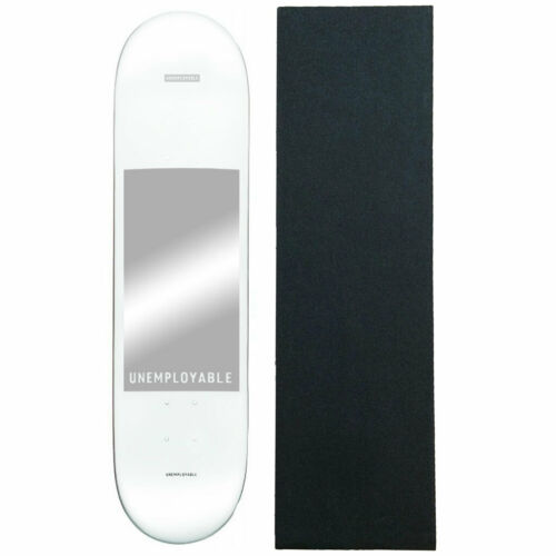 """Globe Skateboard Deck Unemployable White 8.0"""" With Grip"""