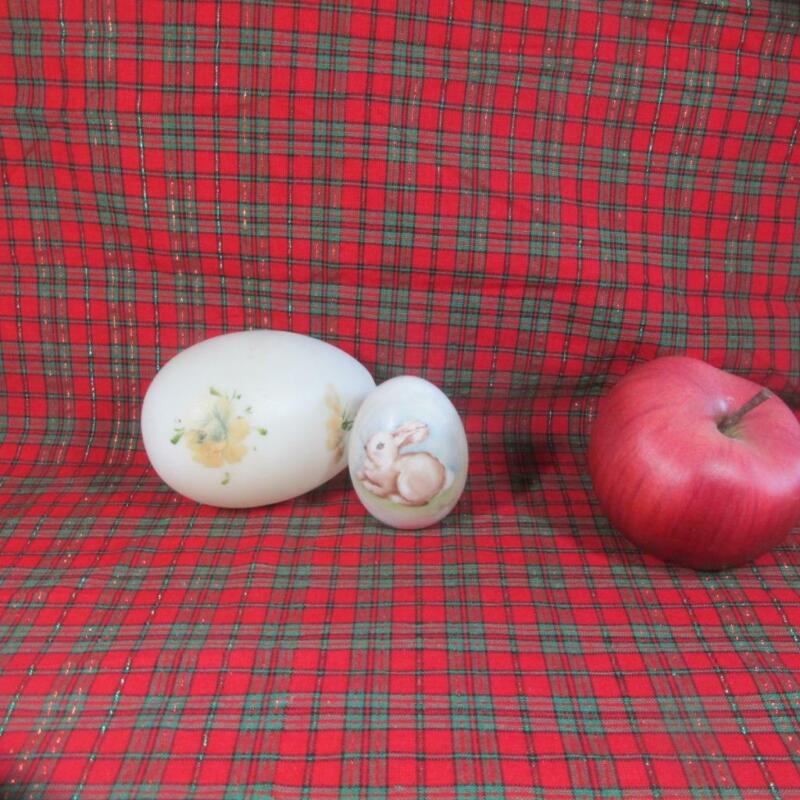 Pair of Glass Eggs, Victorian Milk Glass Easter Egg and Porcelain Bunny Signed