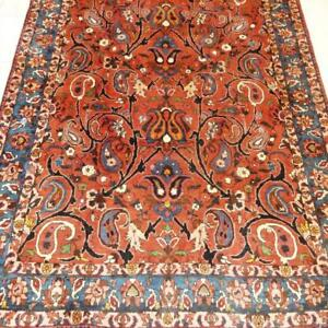 Bakhtiari Semi-Antique Persian Rug, Handmade Carpet, Wool, Orange, Blue, Beige, Black, Brown and Green  Size: 8.7 X 5.2